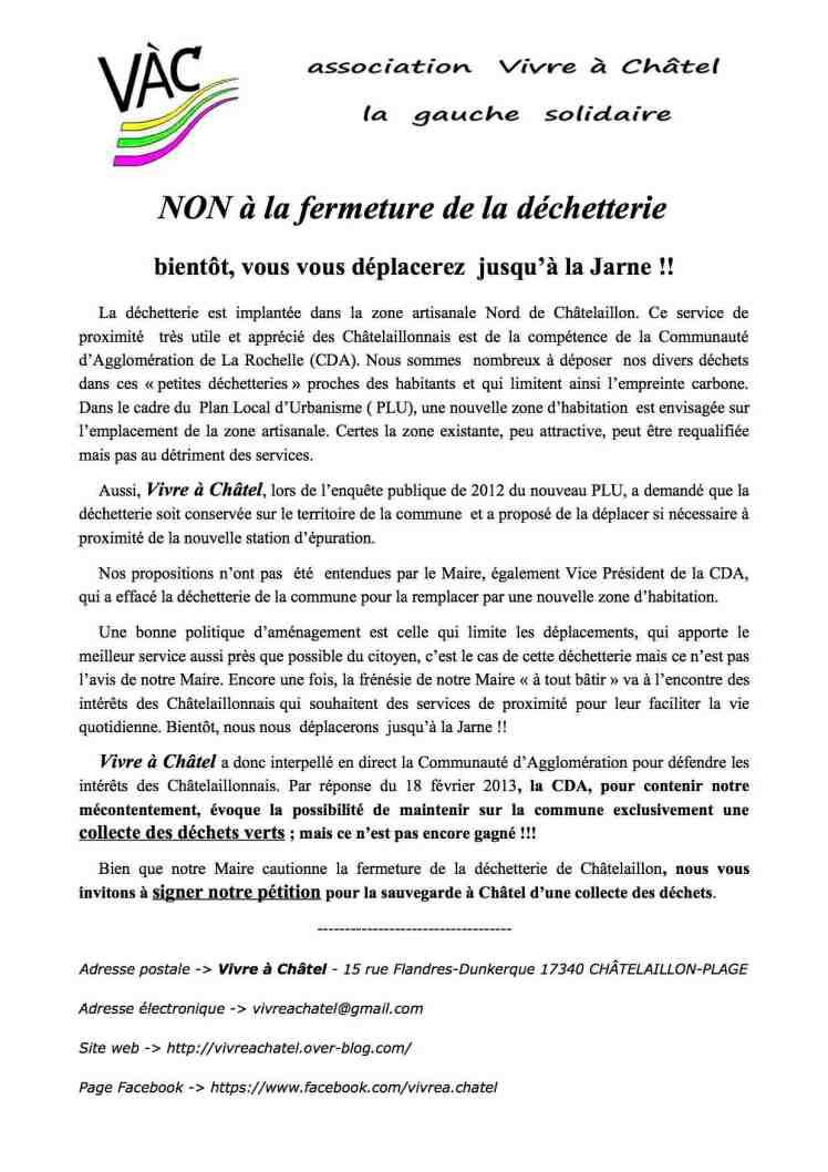 pétition dechetterie