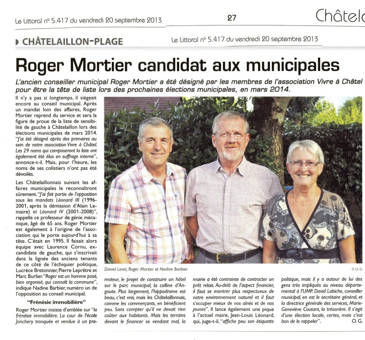 Le Littoral Roger Mortier candidat